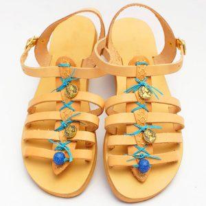 """Αρχαιοελληνικά σανδάλια, χειροποίητα γυναικεία σανδάλια με κούμπωμα """"Perissa"""""""