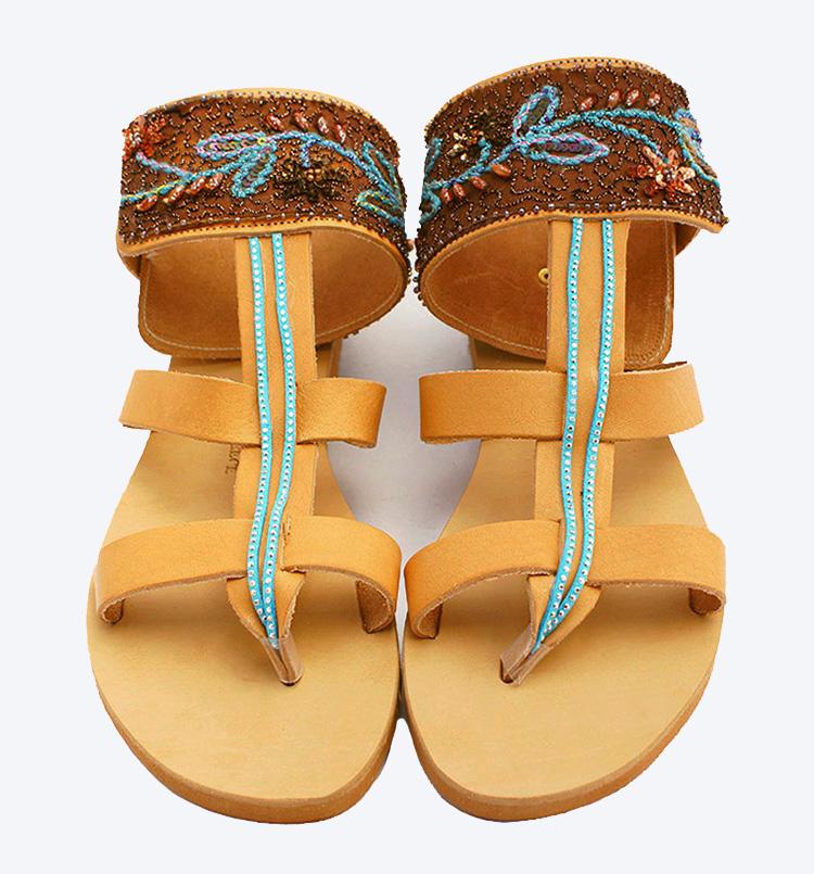 """Γυναικεία σανδάλια πολυτελείας με δαντέλα και στρας, ankle wrap σανδάλια """"Fira"""""""