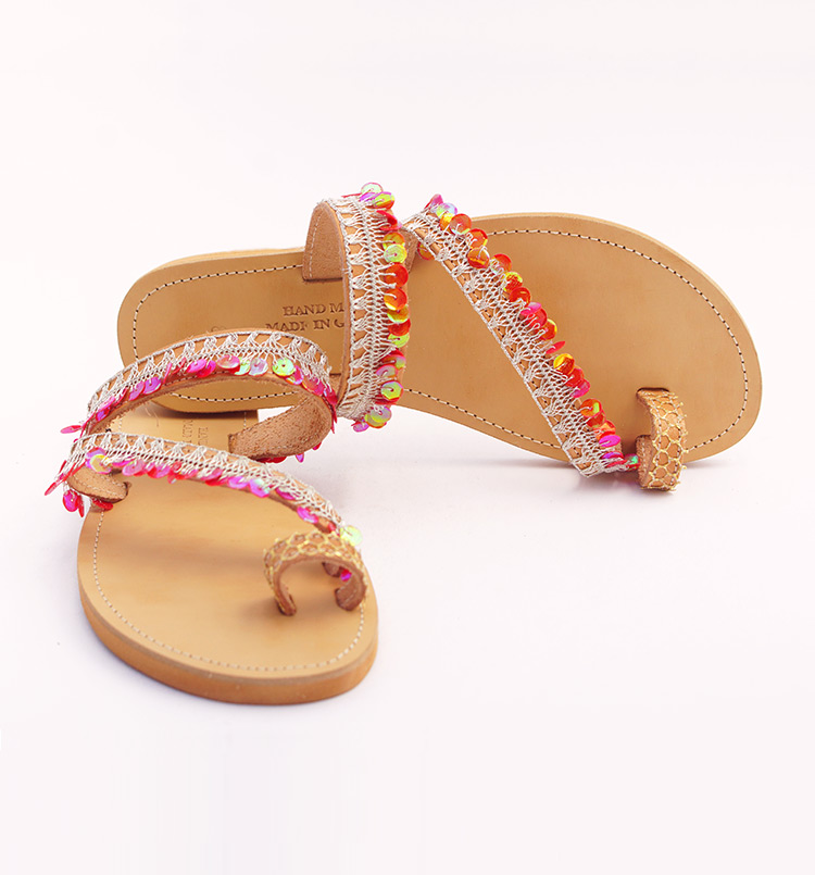 """Ίσια γυναικεία σανδάλια toe ring, δερμάτινα σανδάλια με πούλιες """"Red Beach"""""""