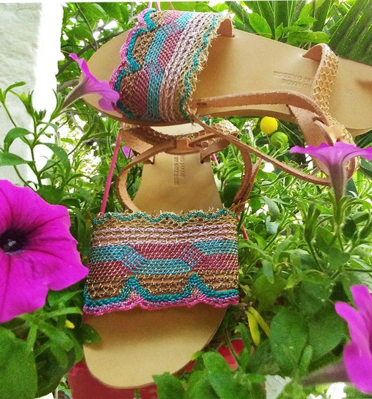 Γυναικεία σανδάλια,πολύχρωμα σανδάλια με κούμπωμα, flat σανδάλια, strappy σανδάλια, σικ ρομαντικά σανδάλια με δαντέλα Χανιά Κρήτη