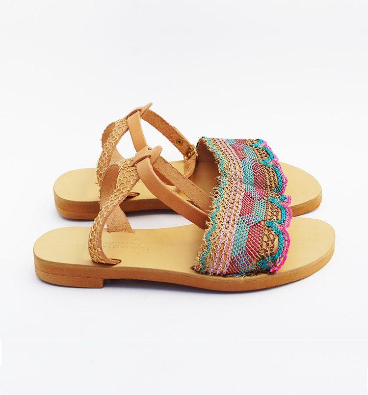Καλοκαιρινά σανδάλια, χειροποίητα σανδάλια, σανδάλια με δαντέλα, γυναικεία σανδάλια, ίσια δερμάτινα σανδάλια Χανιά Κρήτη