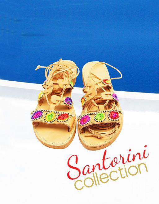 Σανδάλια Σαντορίνη, αρχαιοελληνικά σανδάλια, χειροποίητα δερμάτινα σανδάλια, gladiator σανδάλια μονομάχου, boho chic σανδάλια, πολύχρωμα σανδάλια Σαντορίνη